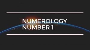 Numerology Number 1